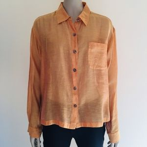 Chico's silk blend sheer button down top
